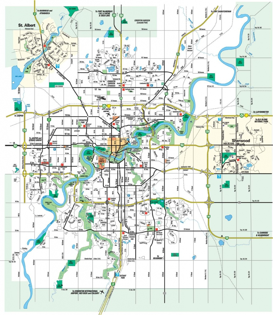 Large Edmonton Maps For Free Download And Print | High-Resolution - Printable Map Of Edmonton