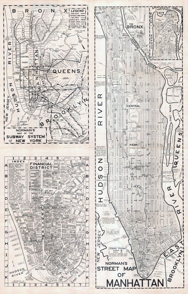 Large Scaled Printable Old Street Map Of Manhattan, New York City - Printable Street Map Of Manhattan Nyc