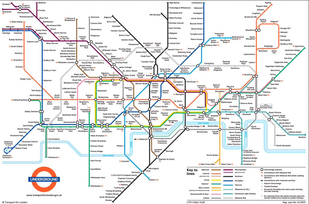 Large View Of The Standard London Underground Map - This Is Exactly - London Tube Map Printable