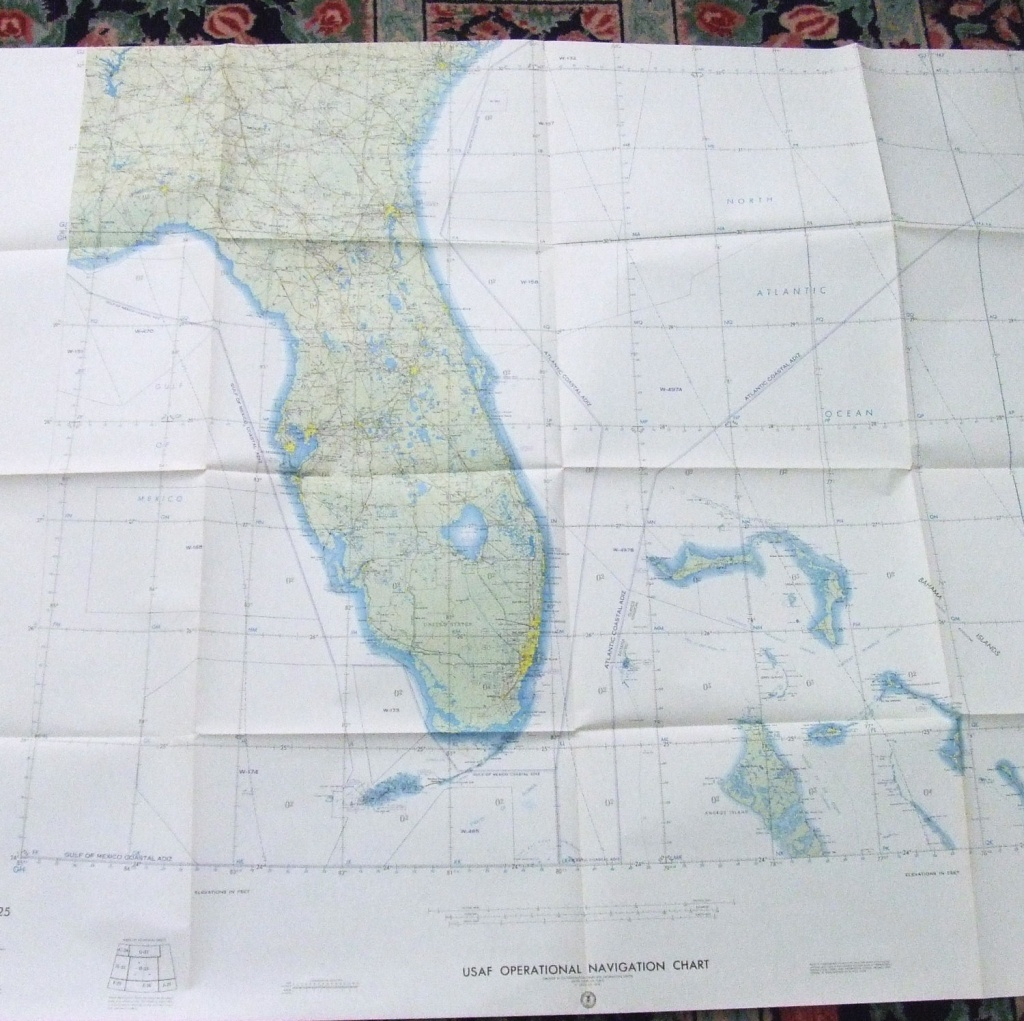 Large Wall Map Florida Bahamas Usaf Aeronautical Out Of   Etsy - Florida Wall Maps For Sale