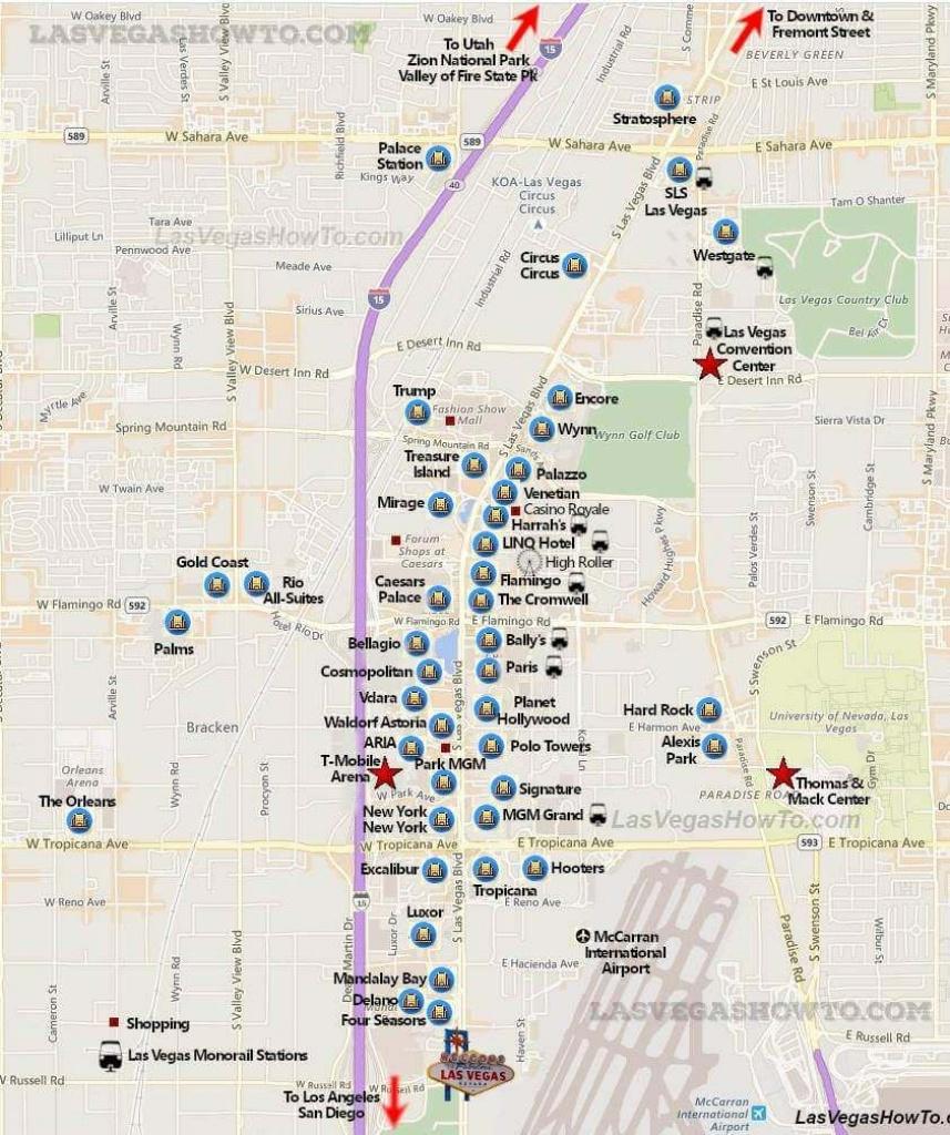 Las Vegas Strip Map (2019)   California, Etc.   Las Vegas Strip Map - Free Printable Map Of The Las Vegas Strip