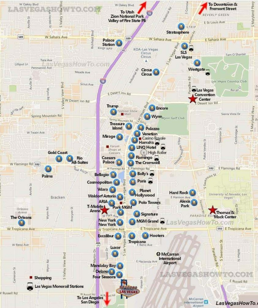 Las Vegas Strip Map (2019) | California, Etc. | Las Vegas Strip Map - Printable Map Of Las Vegas Strip With Hotel Names