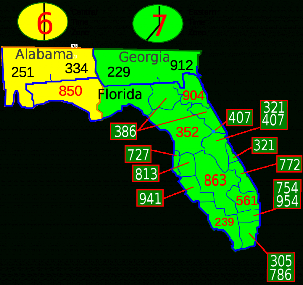 List Of Florida Area Codes - Wikipedia - Central Florida County Map