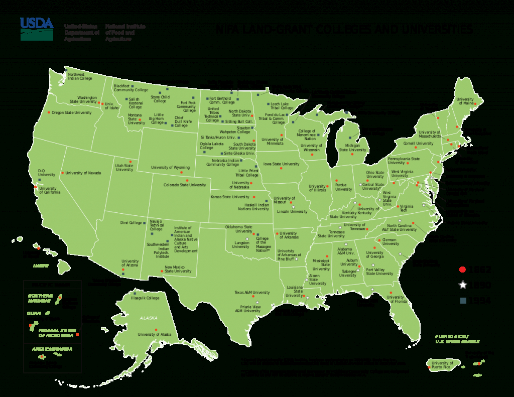 List Of Land-Grant Universities - Wikipedia - California Community Colleges Map