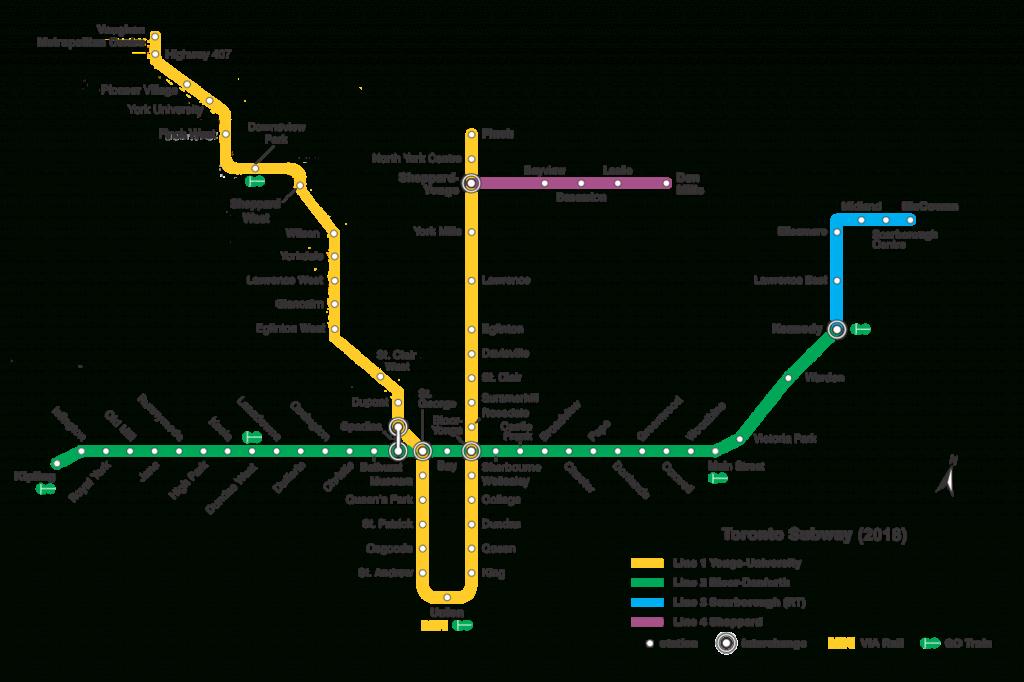 List Of Toronto Subway Stations - Wikipedia - Toronto Subway Map Printable
