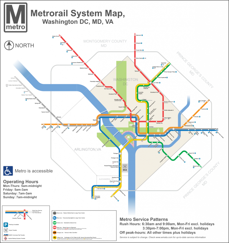 List Of Washington Metro Stations - Wikipedia - Printable Washington Dc Metro Map