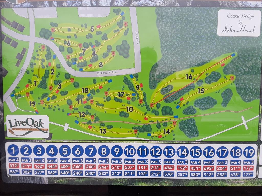 Live Oak City Park - Hillside   Professional Disc Golf Association - Texas Golf Courses Map