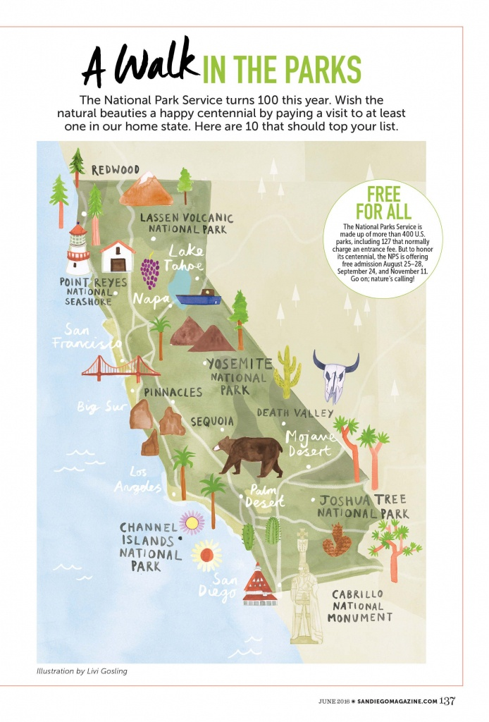 Livi Gosling - Map Of California National Parks   I'll Go Anywhere - Map Of California National Parks And Monuments