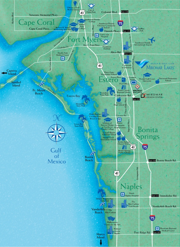 Locate Miromar Lakes, Florida - Just North Of Naples And Estero In - Bonita Beach Florida Map