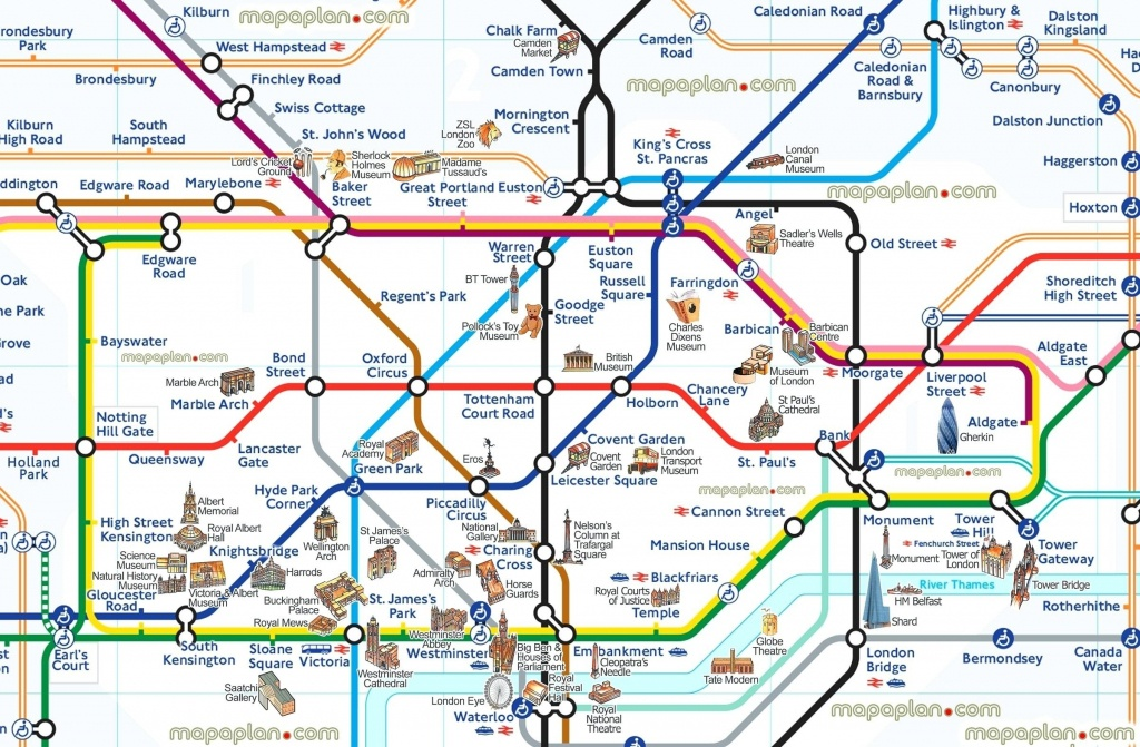 London Attraction Map With Tube – Uk Map - Map Of London Attractions Printable