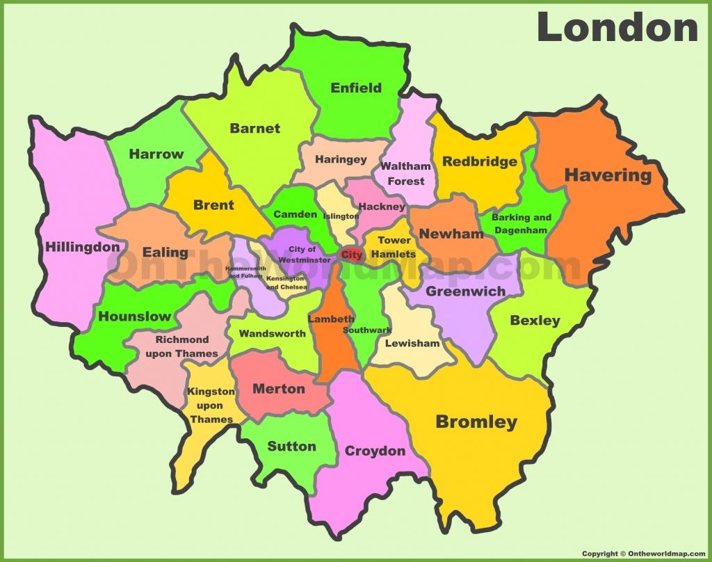 London Boroughs Map - Printable Map Of London Boroughs