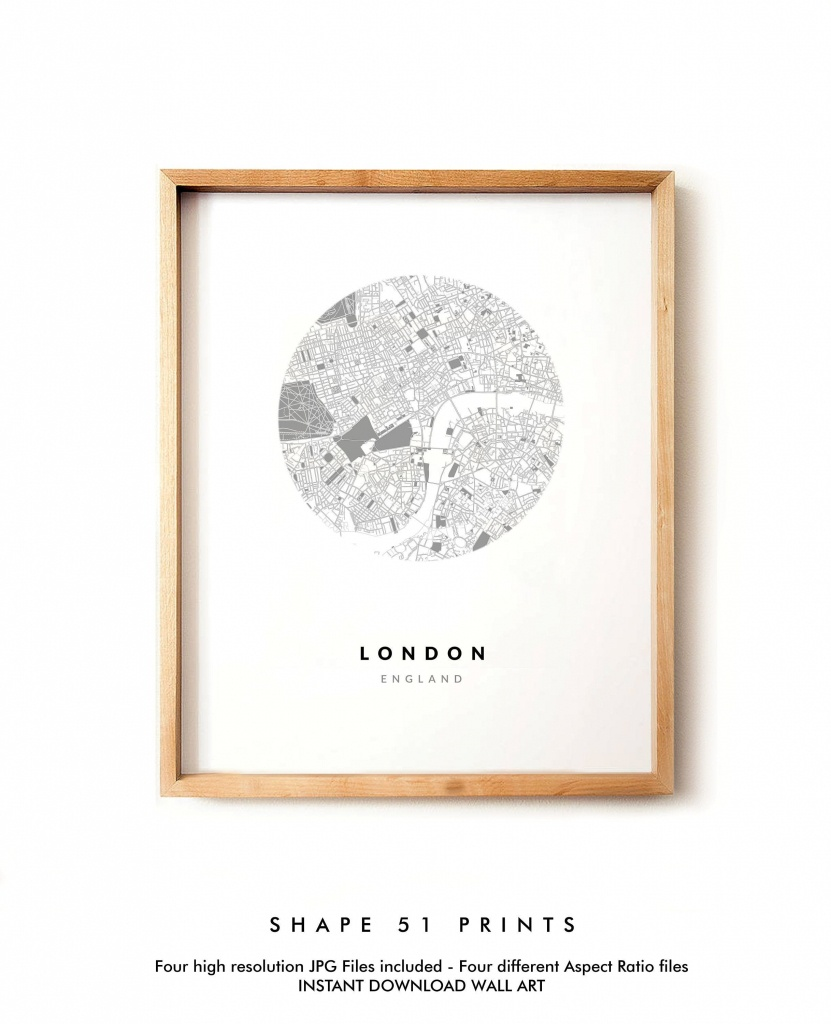 London City Poster, Map Print, Map Wall Art, Black And White, Modern Decor,  City Map Poster, City Printable Map, Map Sign, Circle Map - Circle Map Printable