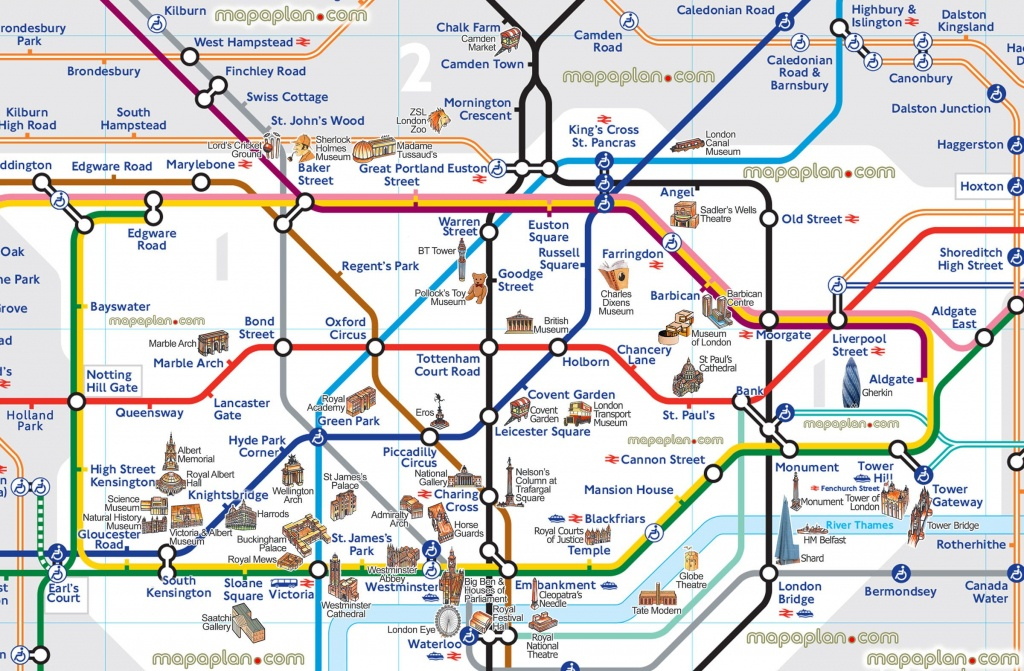 London Map Tube With Attractions Underground Throughout Places Of - Printable Tube Map