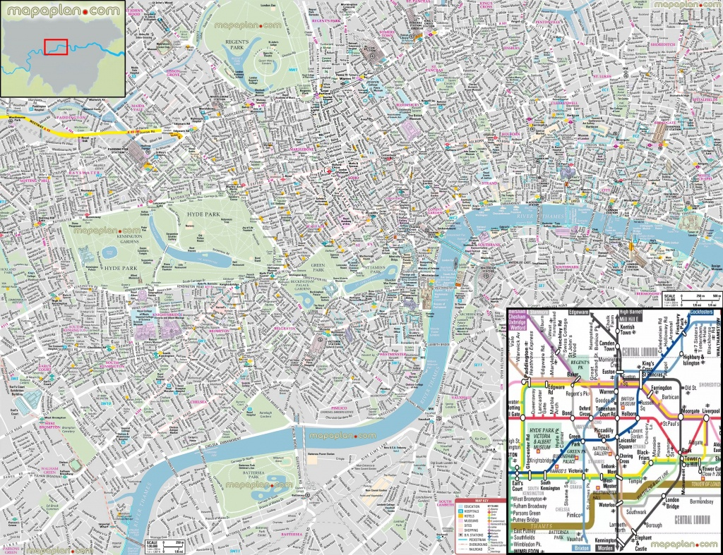 London Maps - Top Tourist Attractions - Free, Printable City Street - Printable City Street Maps
