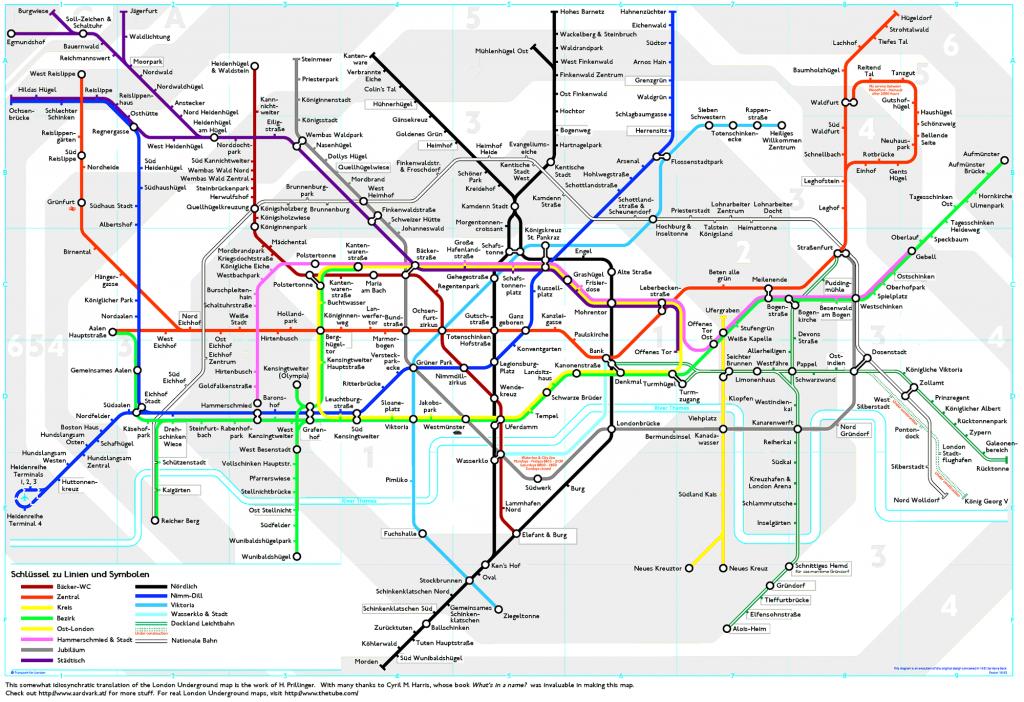 London Underground Map Translated Into German | Londoner U-Bahn-Plan - Printable London Tube Map