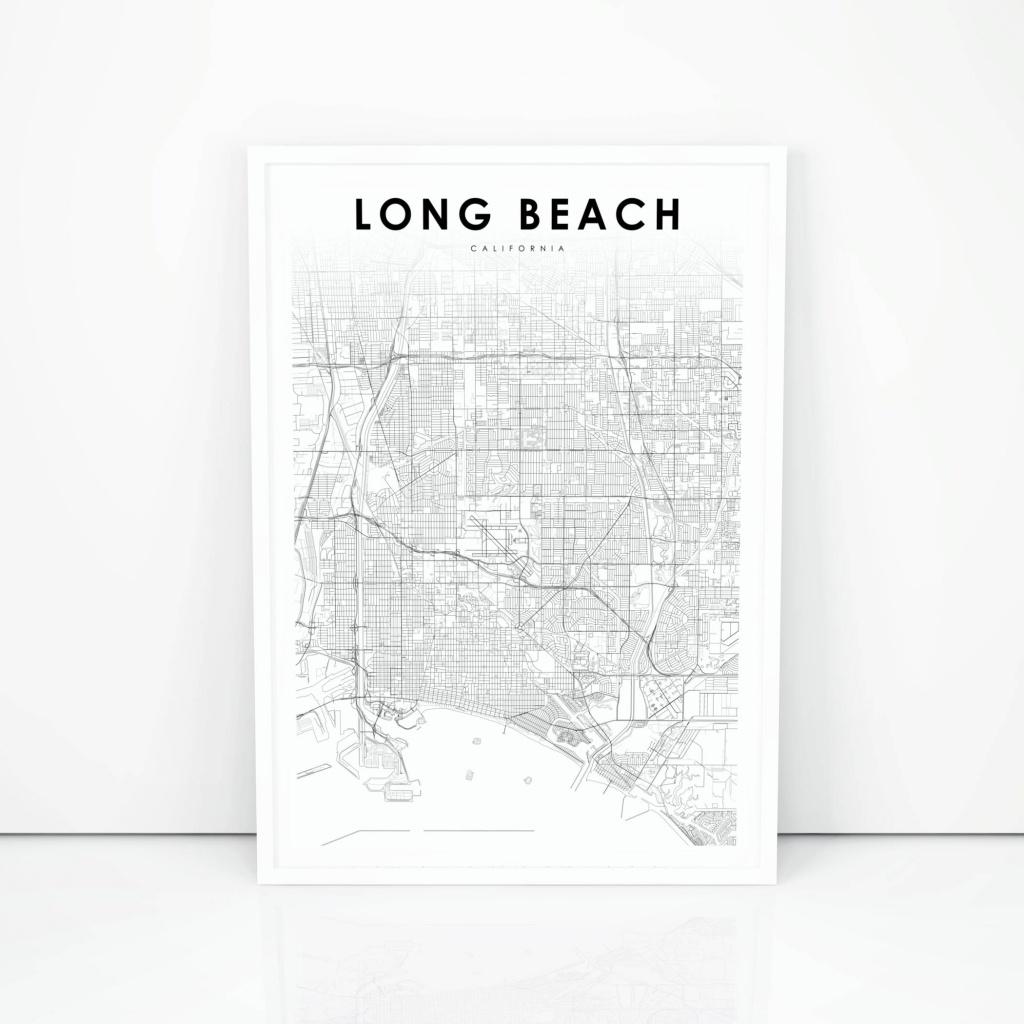 Long Beach Map Print California Ca Usa Map Art Poster City   Etsy - Printable Map Of Long Beach Ca
