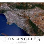 Los Angeles, Ca Area Satellite Map Print | Aerial Image Poster   Satellite Map Of California