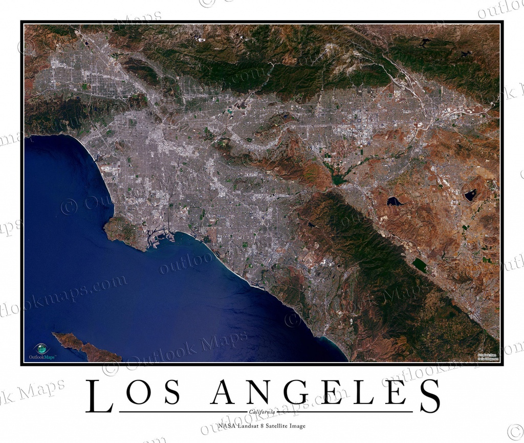 Los Angeles, Ca Area Satellite Map Print | Aerial Image Poster - Satellite Map Of California