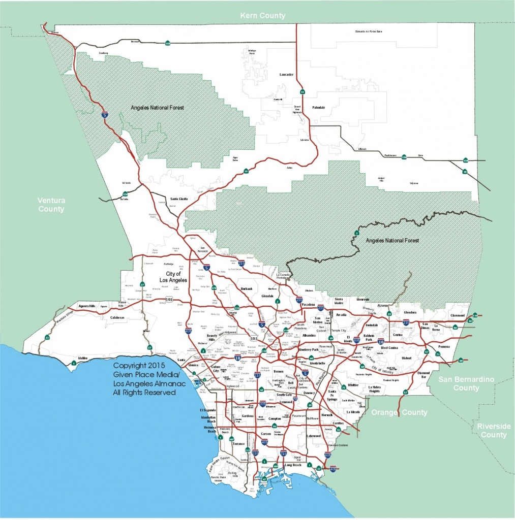 Los Angeles County Map Printable – Map Of Usa District - Los Angeles Freeway Map Printable