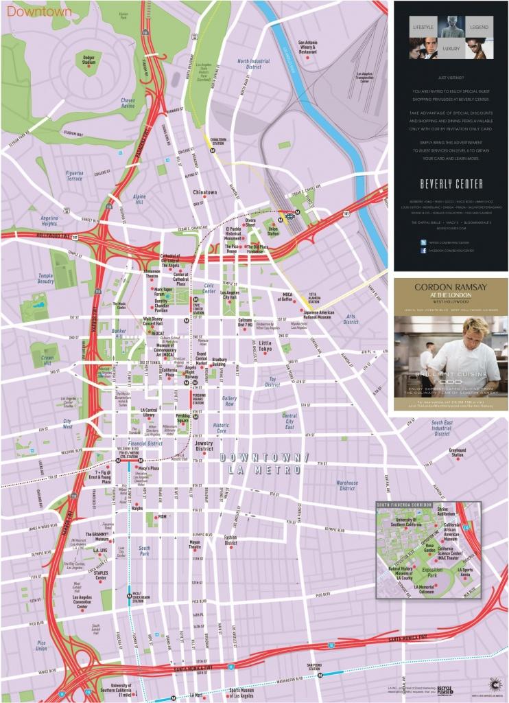 Los Angeles Downtown Tourist Map - Los Angeles Tourist Map Printable
