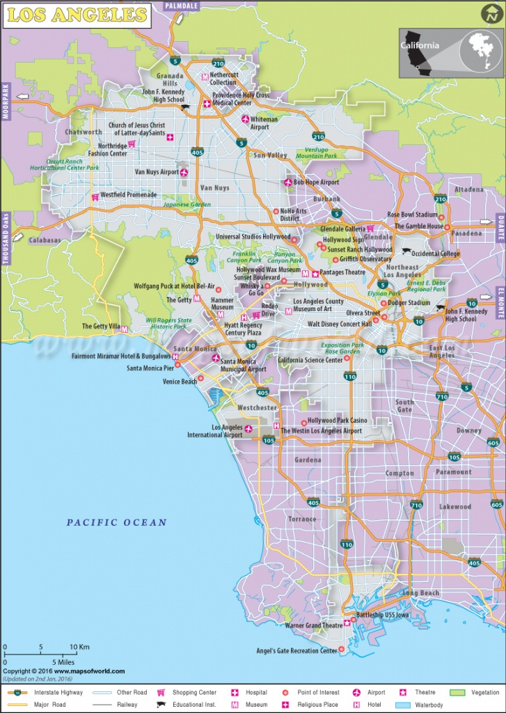 Los Angeles Map, Map Of Los Angeles City, California, La Map - Map Of Los Angeles California Attractions