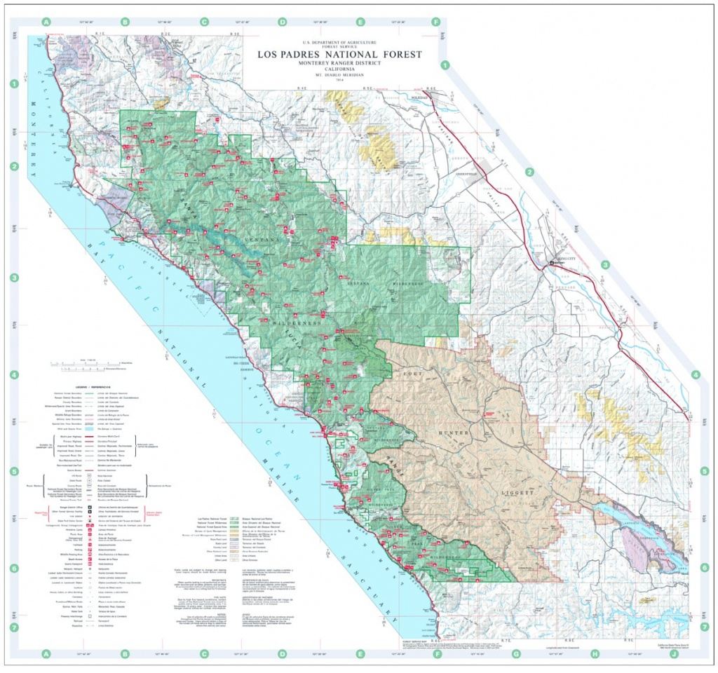 Los Padres National Forest Visitor Map (North) - Us Forest Service - California Forest Service Maps