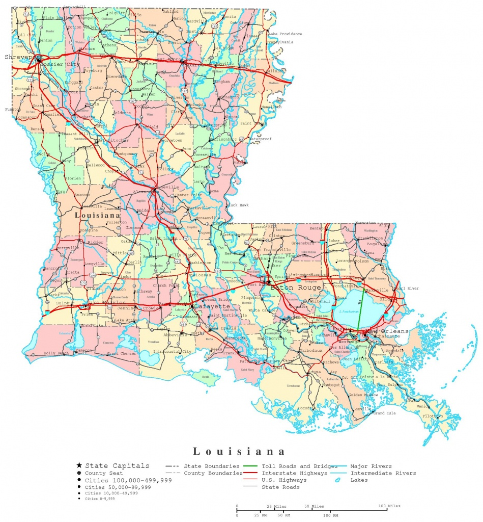 Louisiana Printable Map - Louisiana State Map Printable