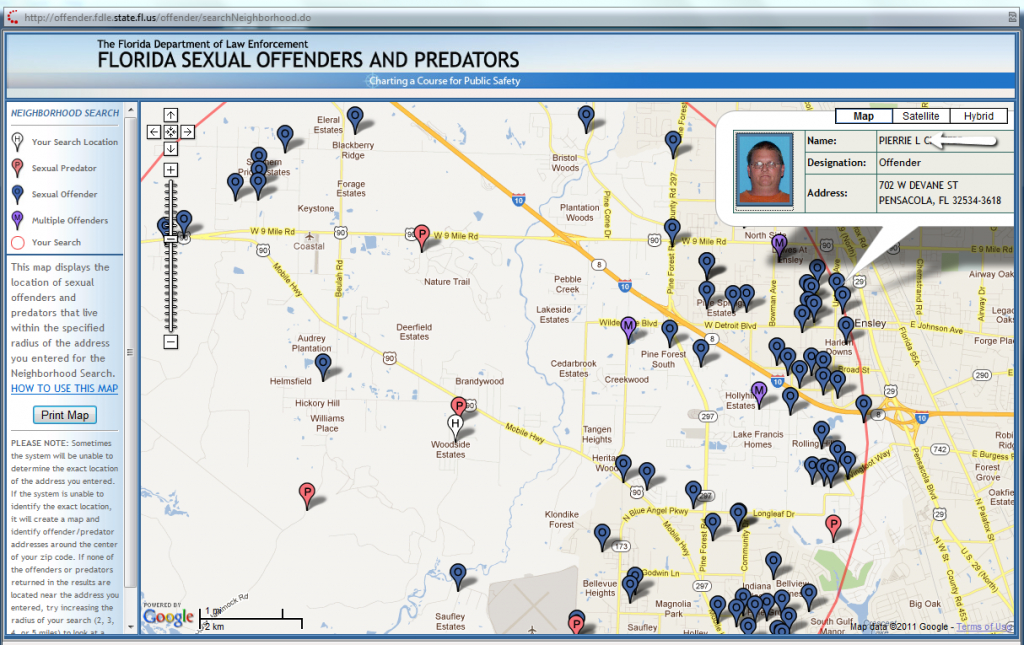 Love To Live In Pensacola, Florida: Moving To Pensacola? Read This! - Map Of Sexual Predators In Florida