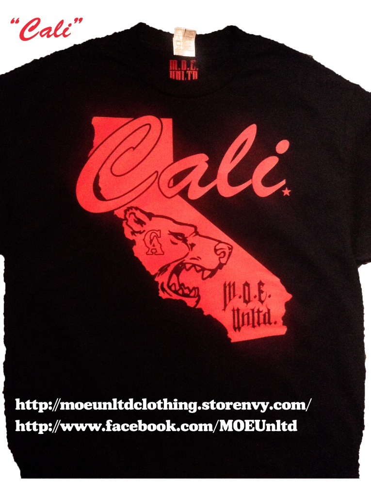 M.o.e. Unltd. Clothing | Cali Men's Black/red T-Shirt | Online - California Map Shirt