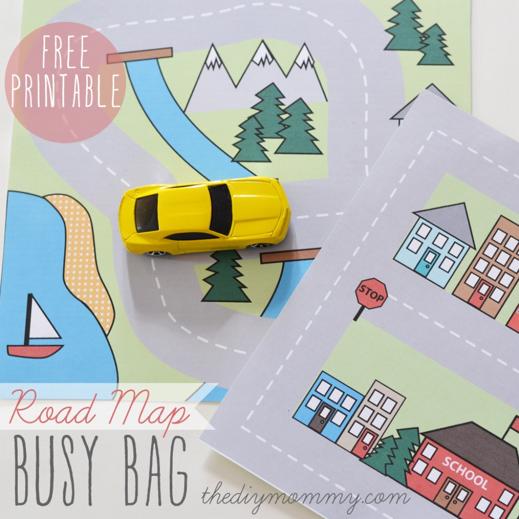 Make A Mini Road Map Busy Bag - Free Printable   The Diy Mommy - Printable Travel Maps For Kids