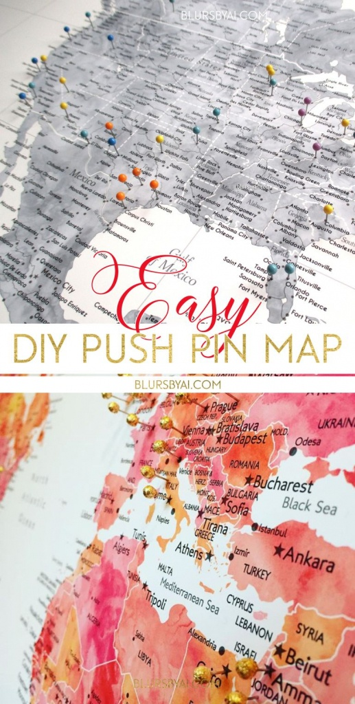 Making A Diy Travel Push Pin Map With One Of Blursbyai's Printable - Printable Map With Pins