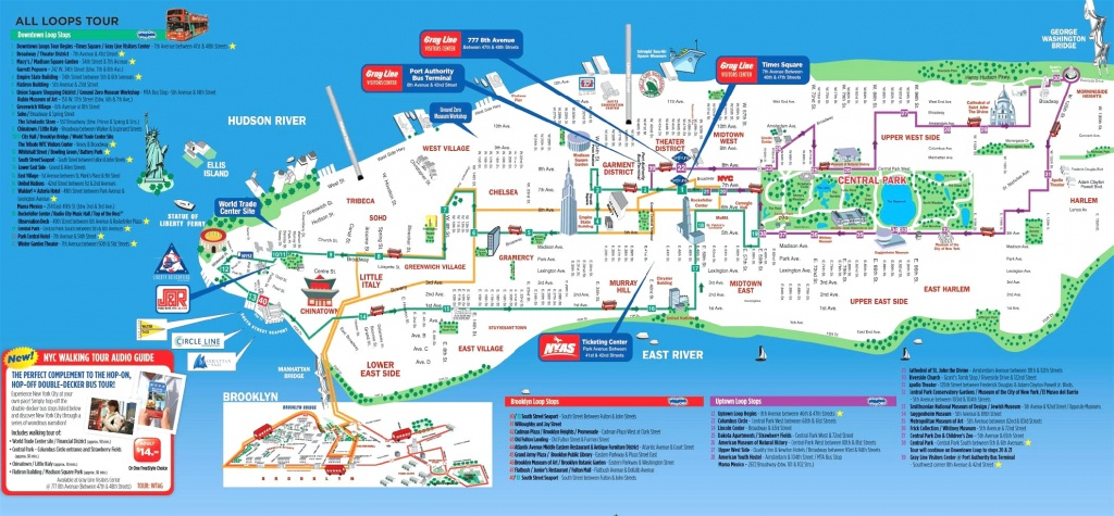 Manhattan Attractions Map And Travel Information | Download Free - Manhattan Sightseeing Map Printable