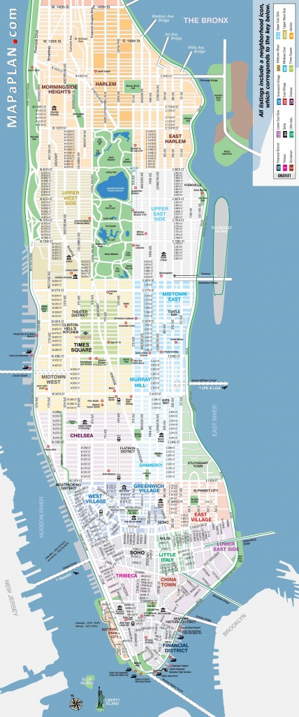 Manhattan-Streets-And-Avenues-Must-See-Places-New-York-Top-Tourist - Printable Map Of Manhattan Pdf