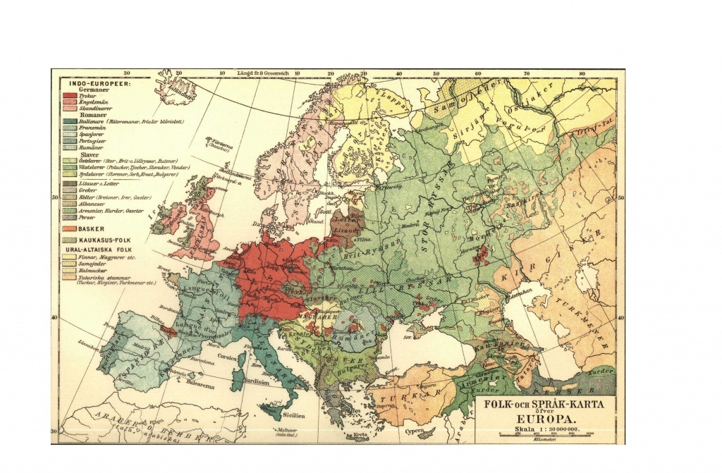 Map - Europe - Linguistic Map 1907 (Vintage Map Website For Printing - Europe Travel Map Printable