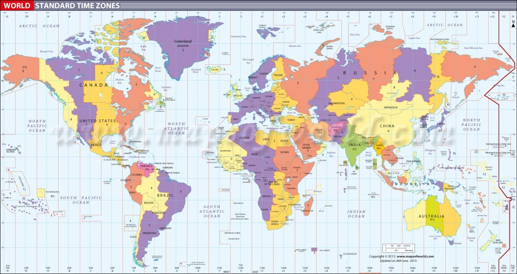 Map In Large Print Of The World Inpinks | Free Printable World Time - Printable Time Zone Map For Kids
