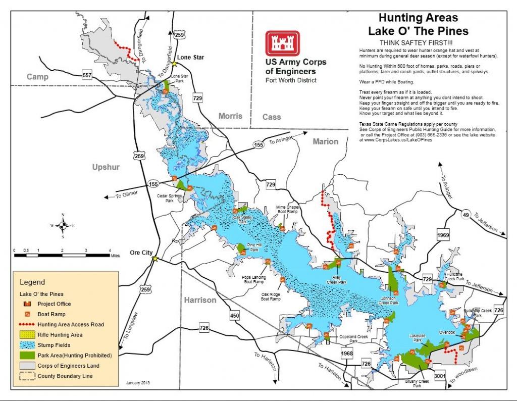 Map   Lake O' The Pines - Texas Fishing Maps