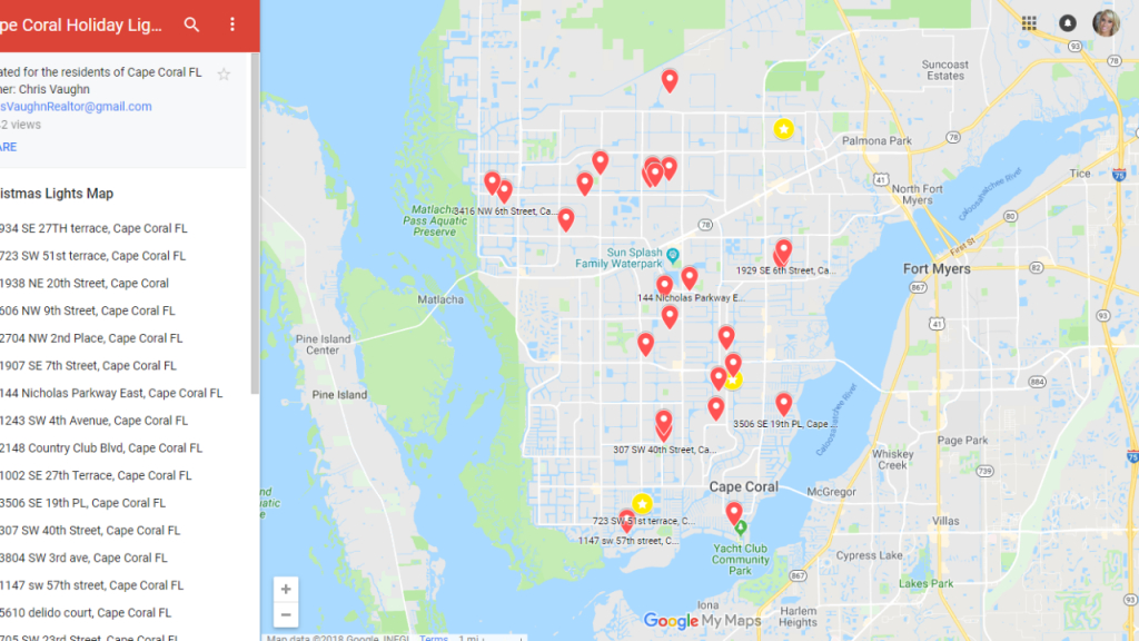 Map Lists Holiday Light Displays Throughout Cape Coral - Map Of Florida Including Cape Coral