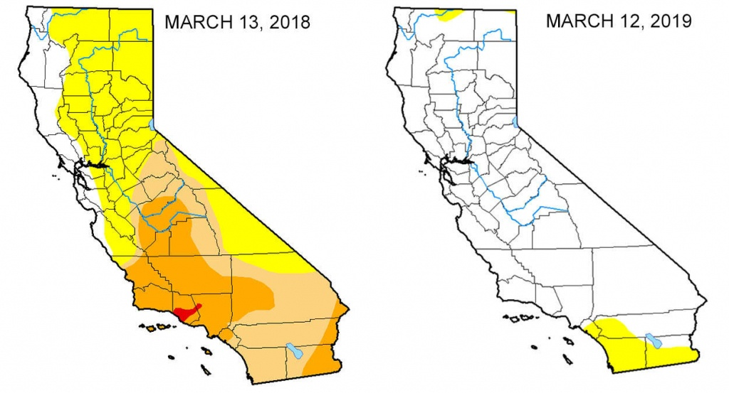 Map: Look At The Drought Difference In California From One Year Ago - California Reservoirs Map