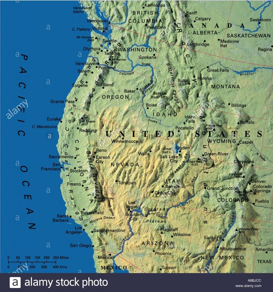 Map Maps Usa California Oregon Washington State Stock Photo: 3933899 - Washington Oregon California Coast Map