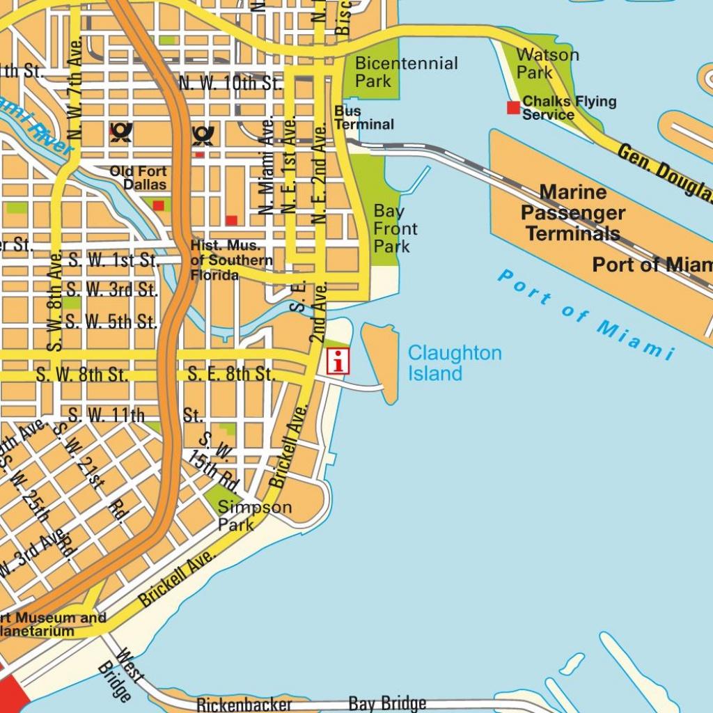 Map Miami Fl And Miami Beach, Florida, Usa (City Center). City - Map Of Miami Beach Florida