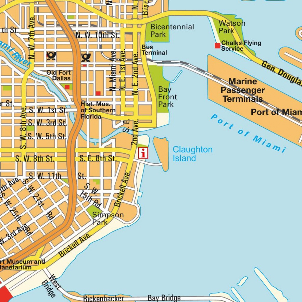 Map Miami Fl And Miami Beach, Florida, Usa (City Center). City - Miami Florida Map