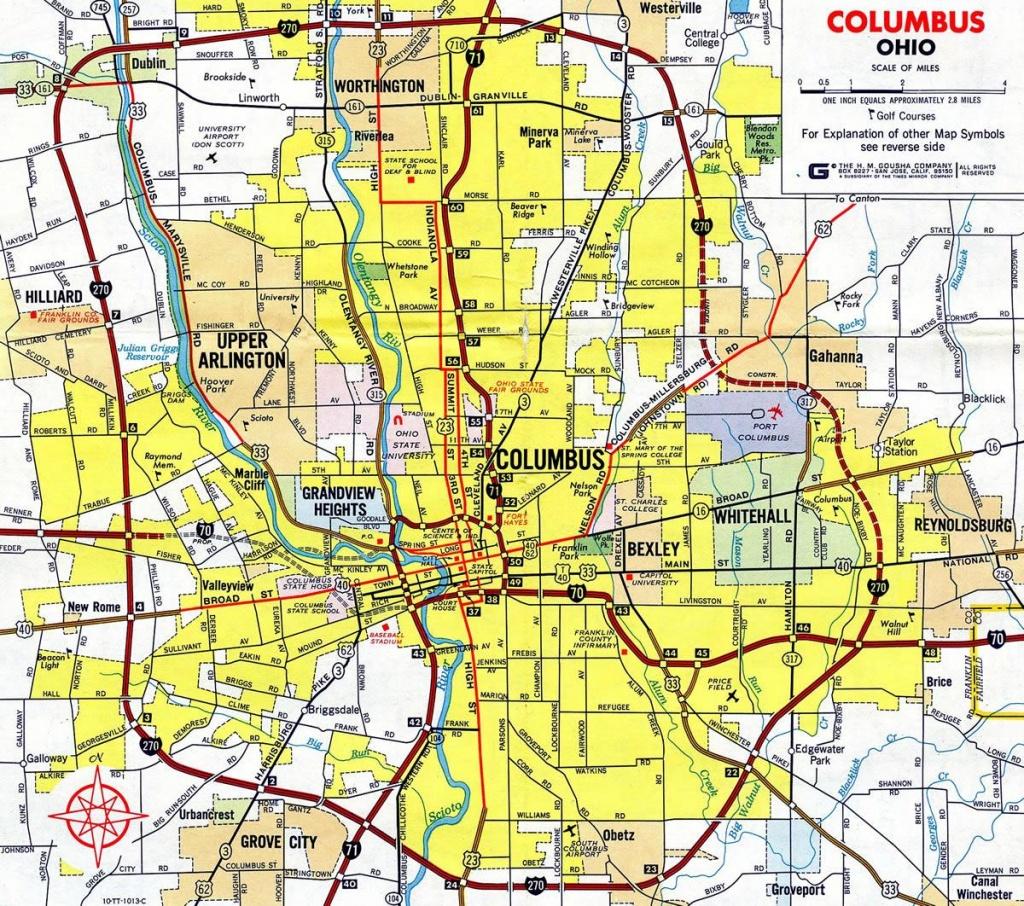 Map Of 270 Columbus Ohio - 270 Columbus Ohio Map (Ohio - Usa) - Printable Map Of Columbus Ohio