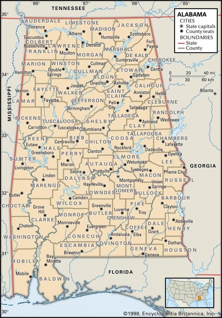 Map Of Alabama County Boundaries And County Seats.   Genealogy - Printable Map Of Alabama