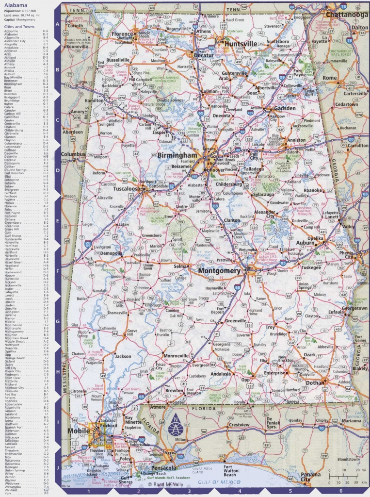 Map Of Alabama With Cities And Towns - Alabama State Map Printable