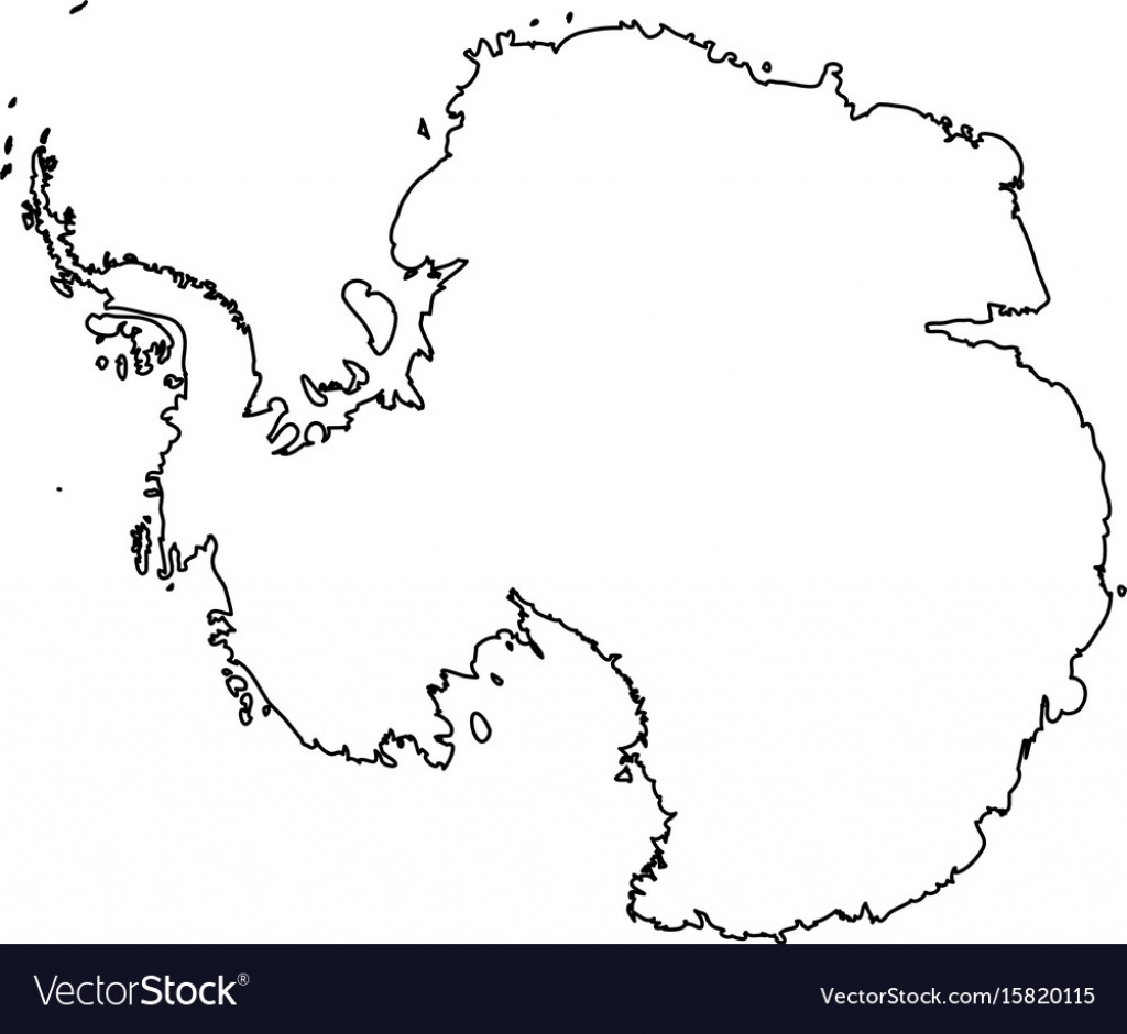 Map Of Antarctica Black Outline High Detailed Vector Image - Antarctica Outline Map Printable