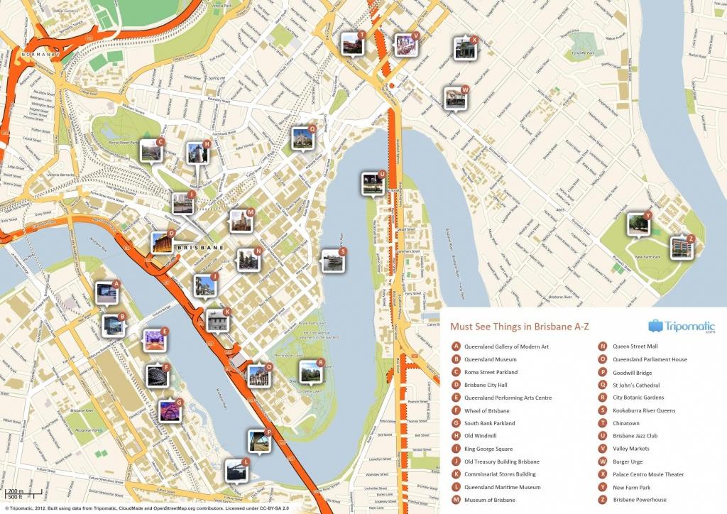 Map Of Brisbane Australia - World Wide Maps - Brisbane City Map Printable