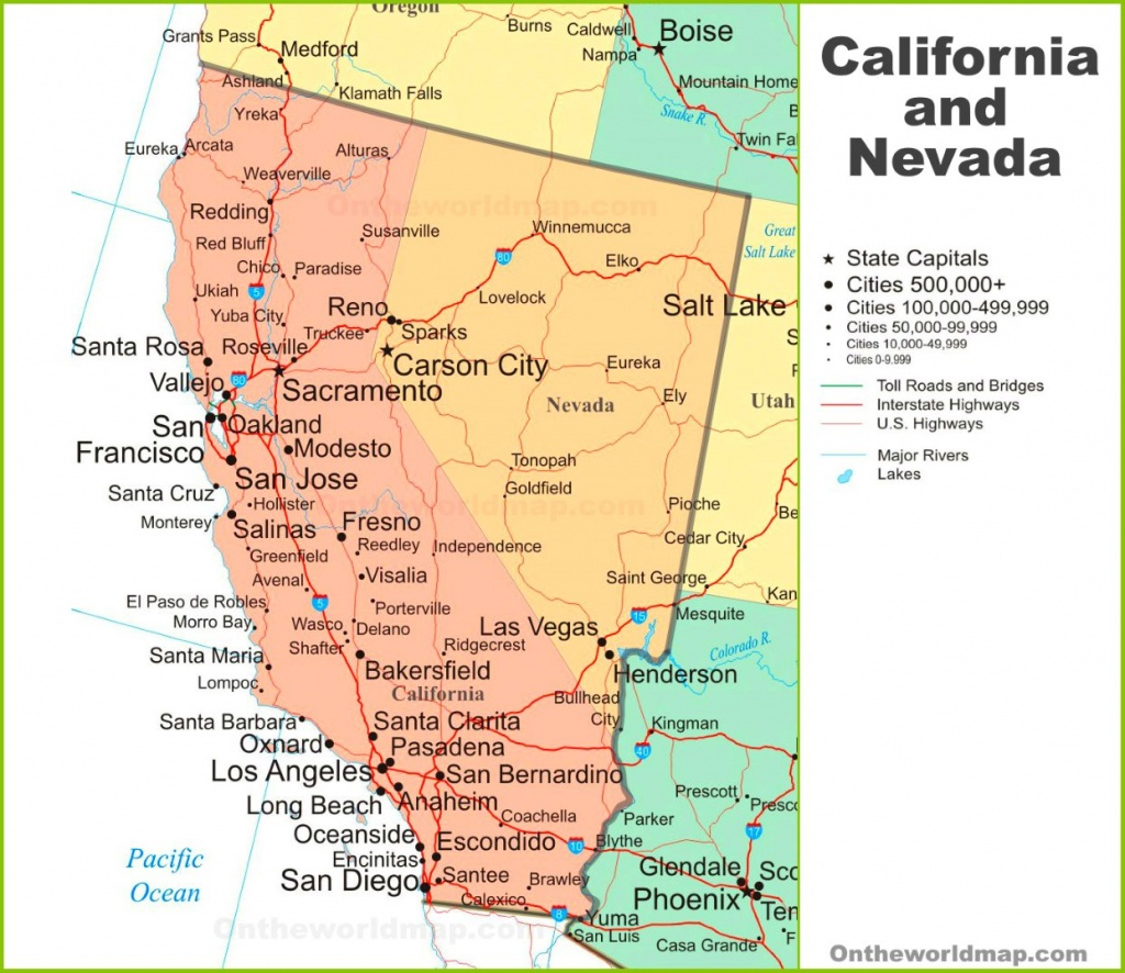Map Of California And Nevada - Map Of Las Vegas And California