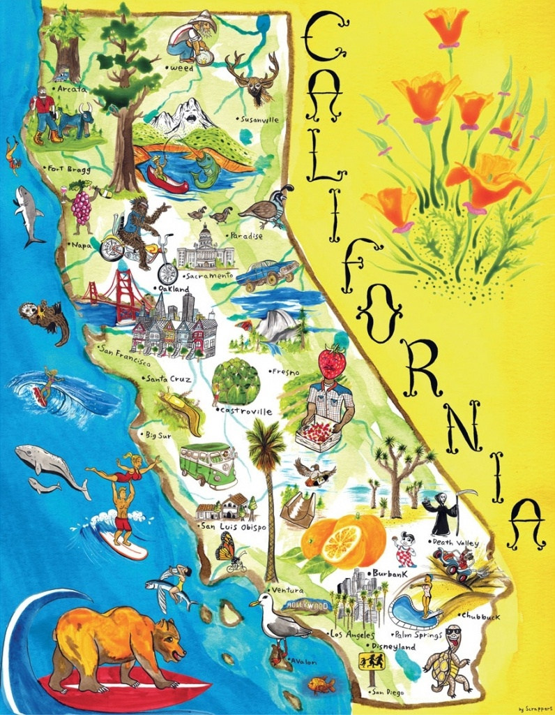 Map Of California. California Attraction Map – California Map - Northern California Attractions Map
