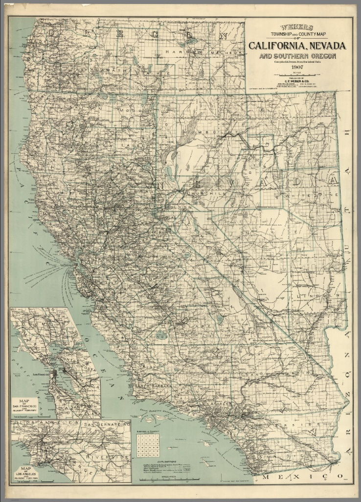 Map Of California, Nevada And Southern Oregon - David Rumsey - Oregon California Map