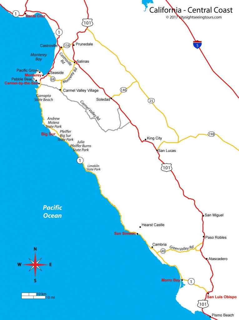 Map Of California's Central Coast - Big Sur, Carmel, Monterey - Where Is Monterey California On The Map